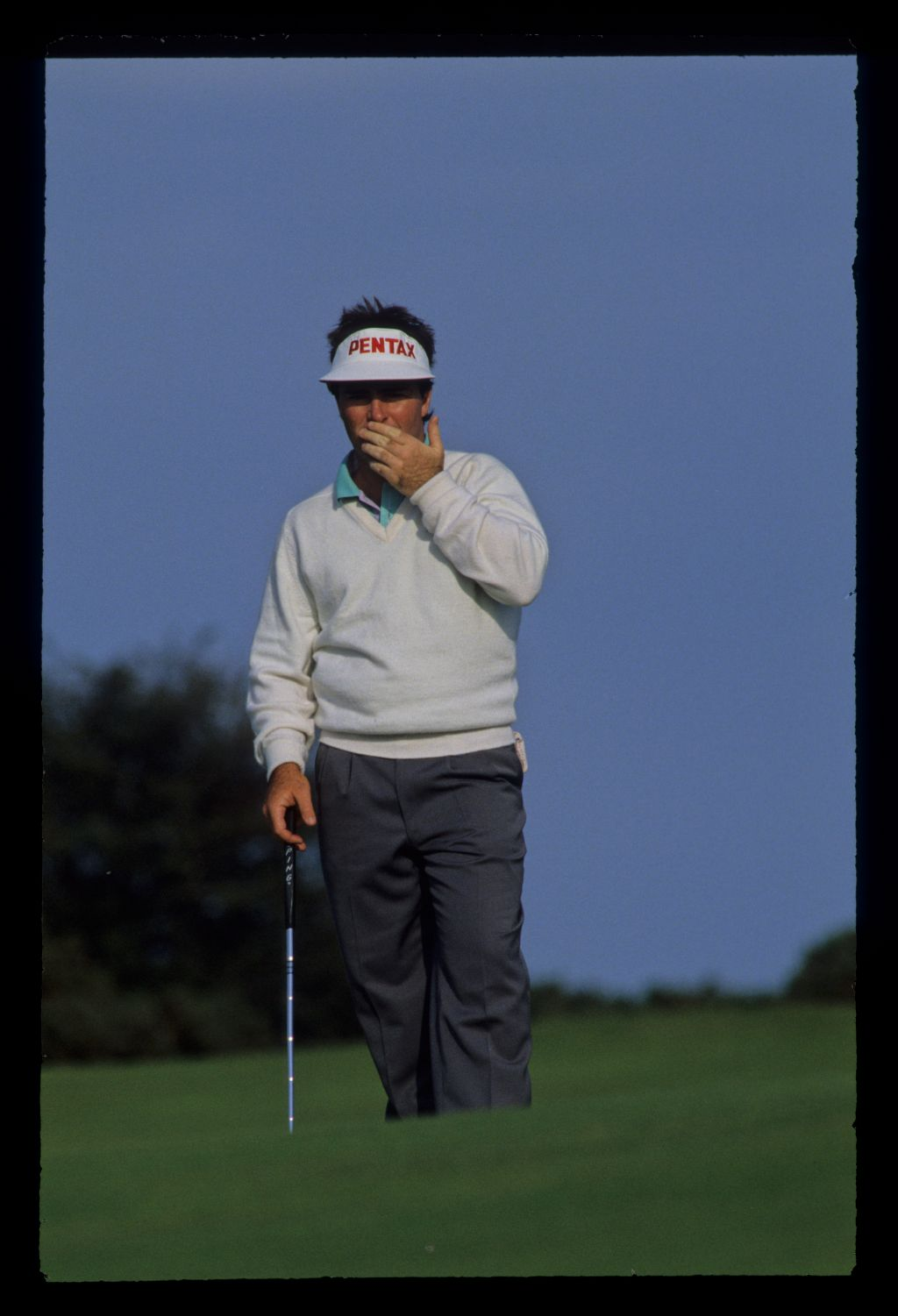 Craig Parry reacting to a putt during the 1990 Open Championship