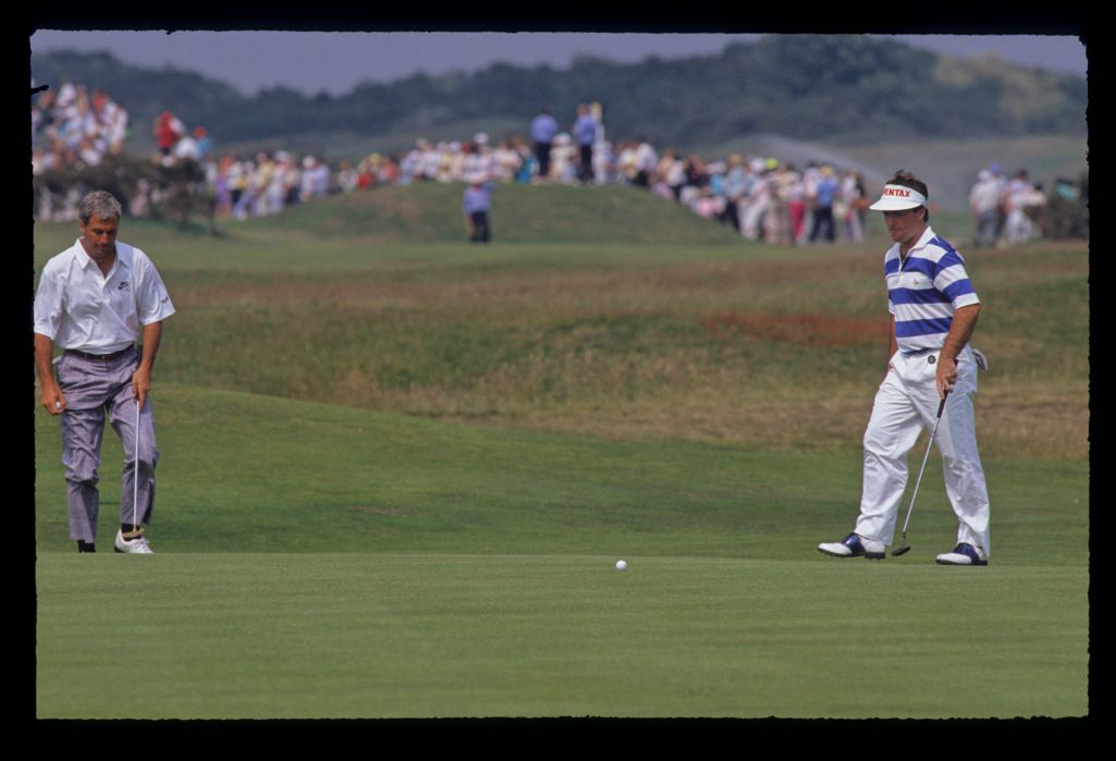 Craig Parry stepping after a putt during the 1990 Open Championship