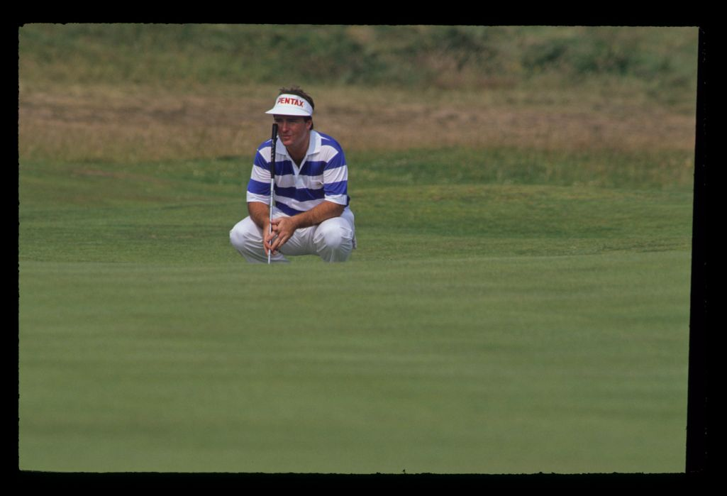 Craig Parry lining up a putt during the 1990 Open Championship