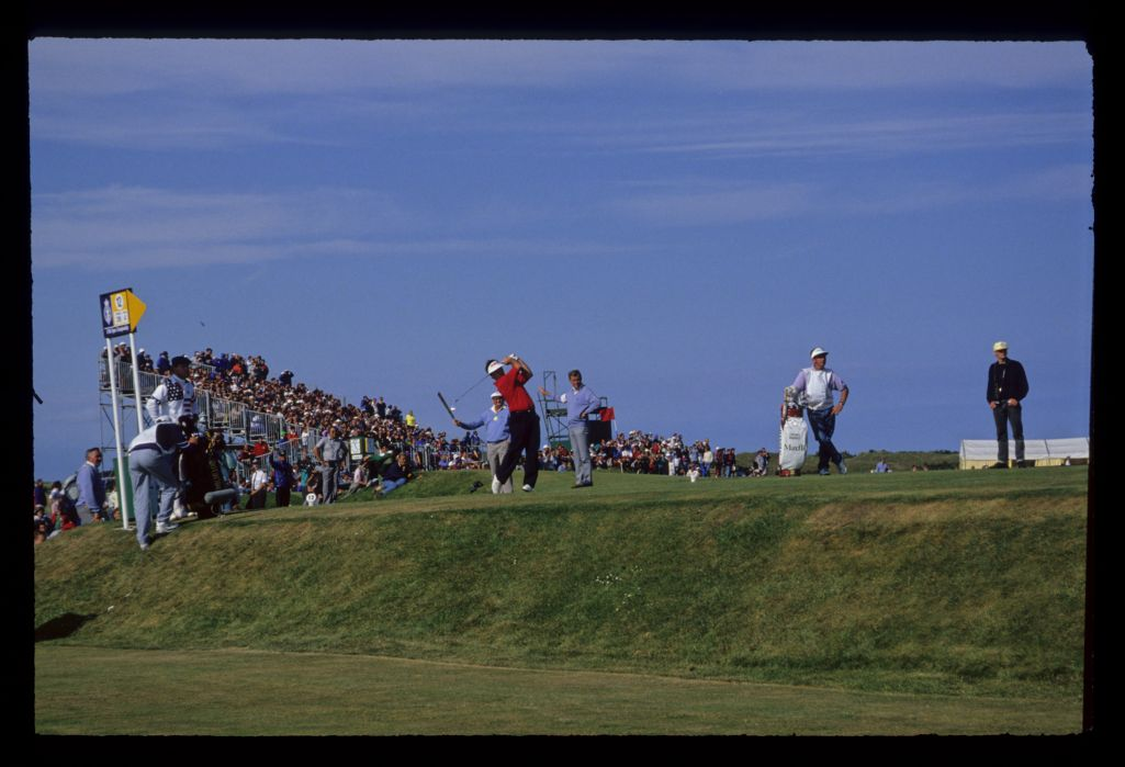 Craig Parry following through on the 12th tee during the 1990 Open Championship