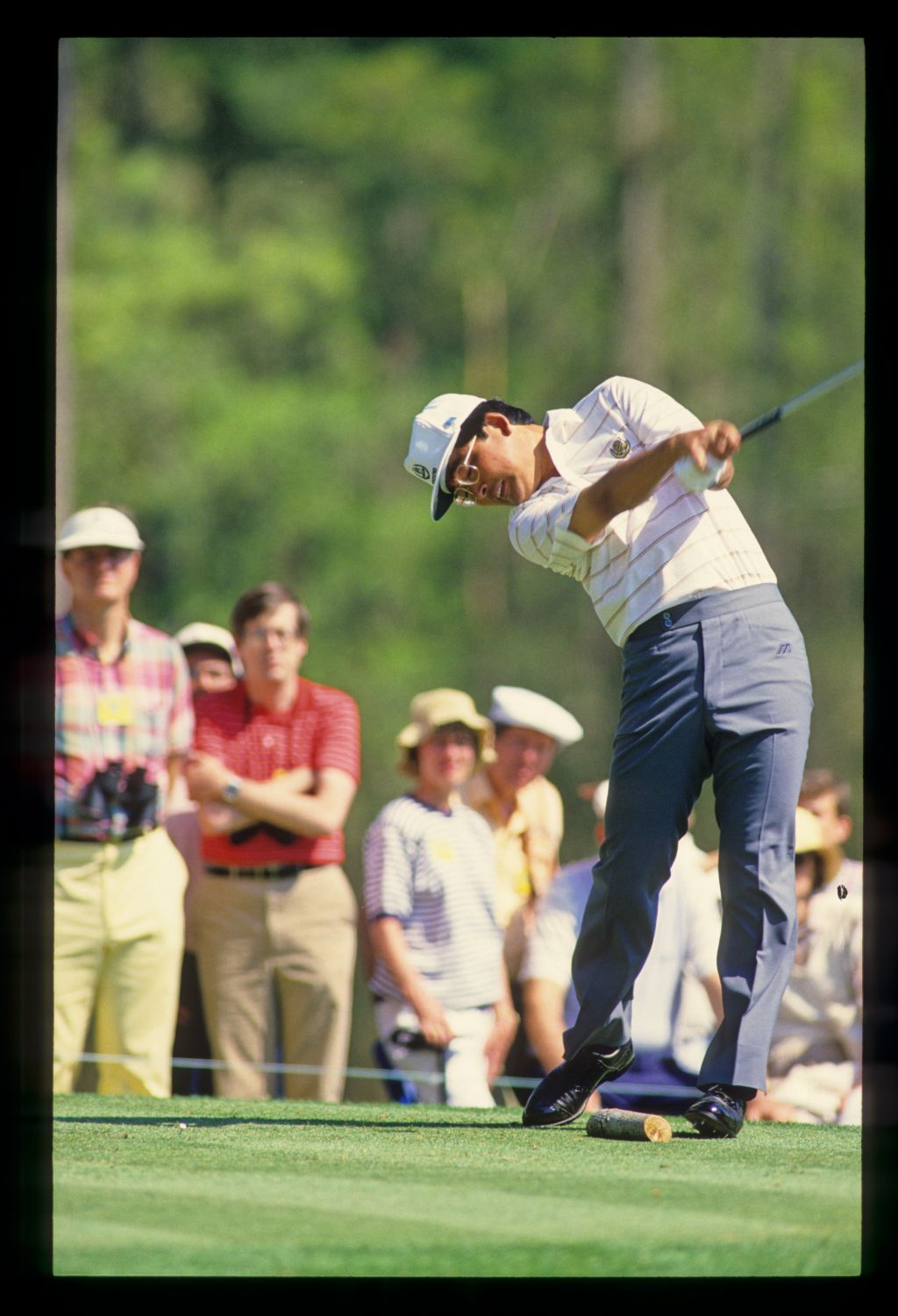Tommy Nakajima following through on the tee during the 1987 Masters