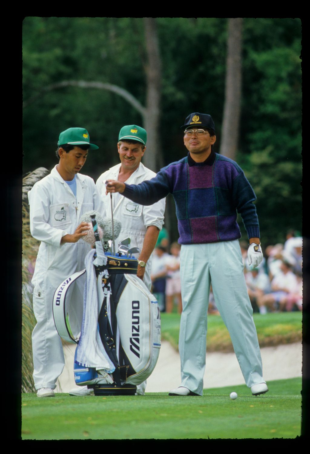 Tommy Nakajima smiling on the tee during the 1988 Masters