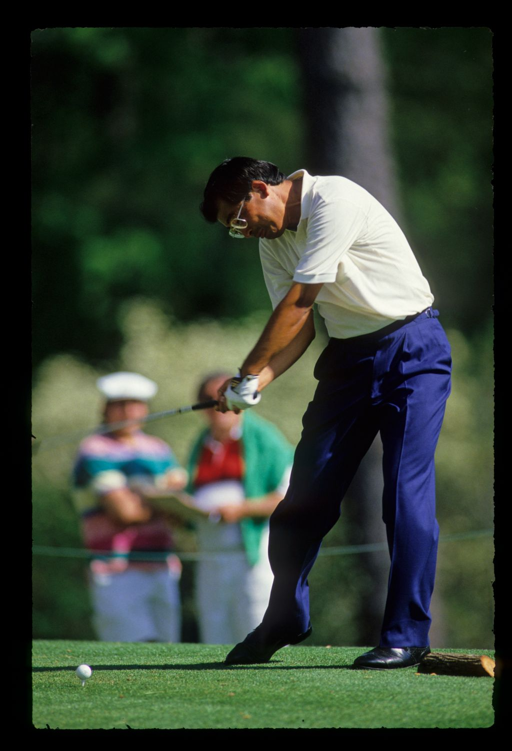 Tommy Nakajima just before impact on the tee during the 1988 Masters