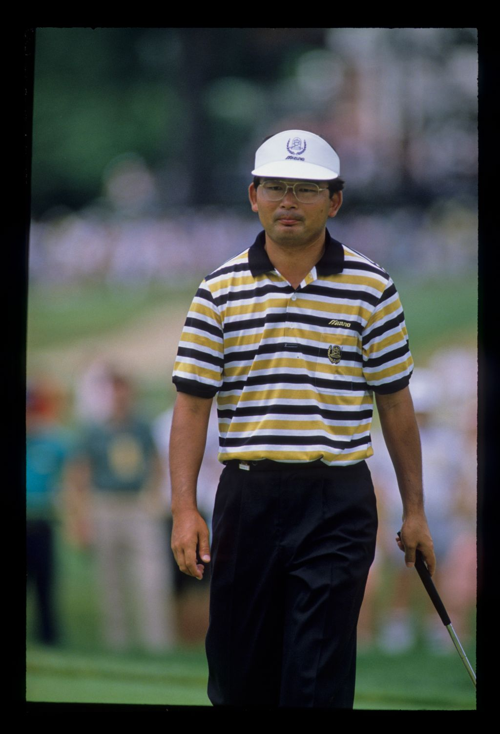 Tommy Nakajima pursing his lips on the green during the 1988 US Open