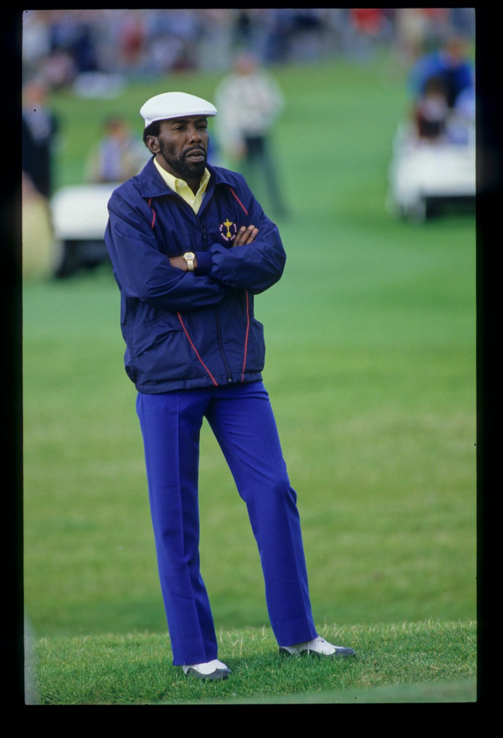 Calvin Peete looking thoughtful during the 1985 Ryder Cup