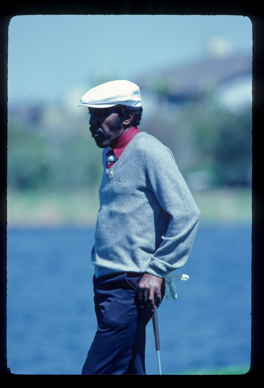 Calvin Peete leaning on his putter during the 1981 TPC