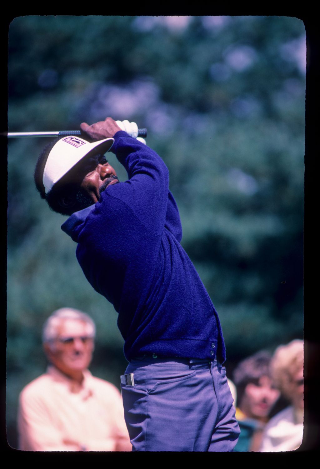 Calvin Peete following through on the tee during the 1982 NEC World Series of Golf