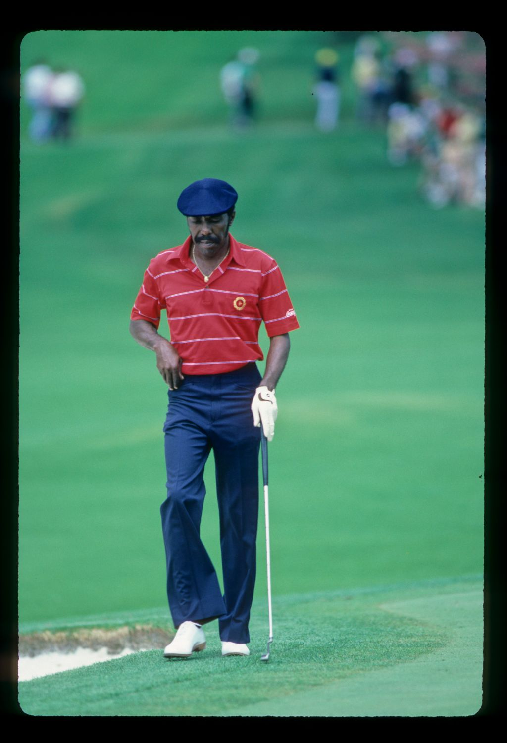 Calvin Peete stalking the green during the 1984 Masters