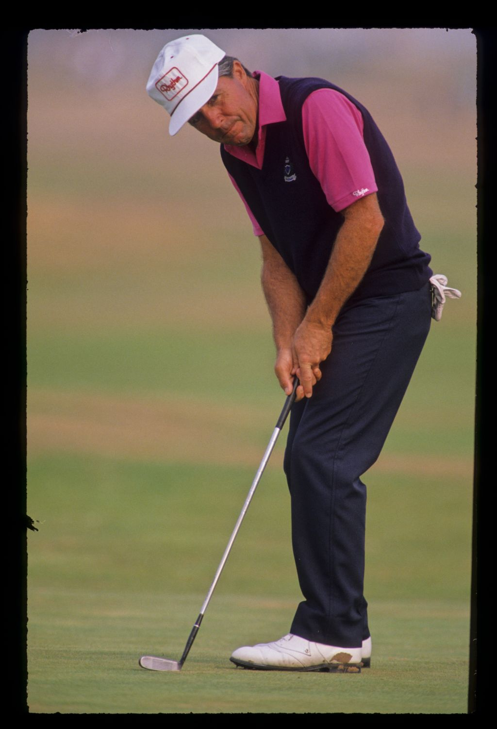 Gary Player putting during the 1989 Open Championship
