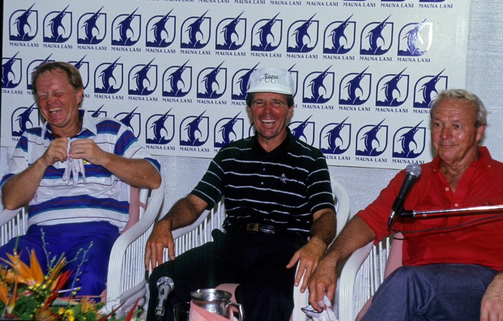 Gary Player, Jack Nicklaus and Arnold Palmer at a press conference during the 1990 Senior Skins Game