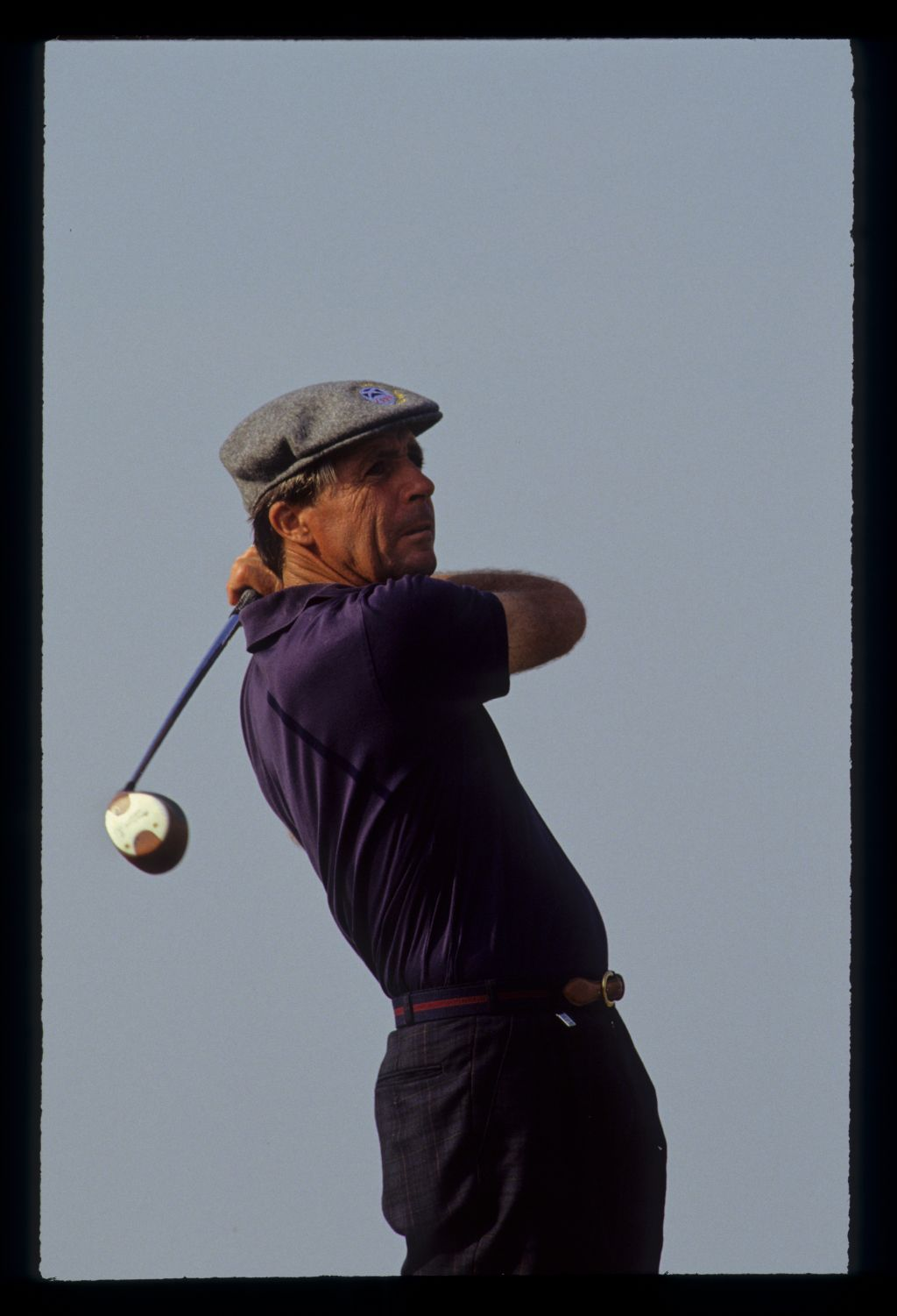 Gary Player hands high on the tee during the 1990 Open Championship