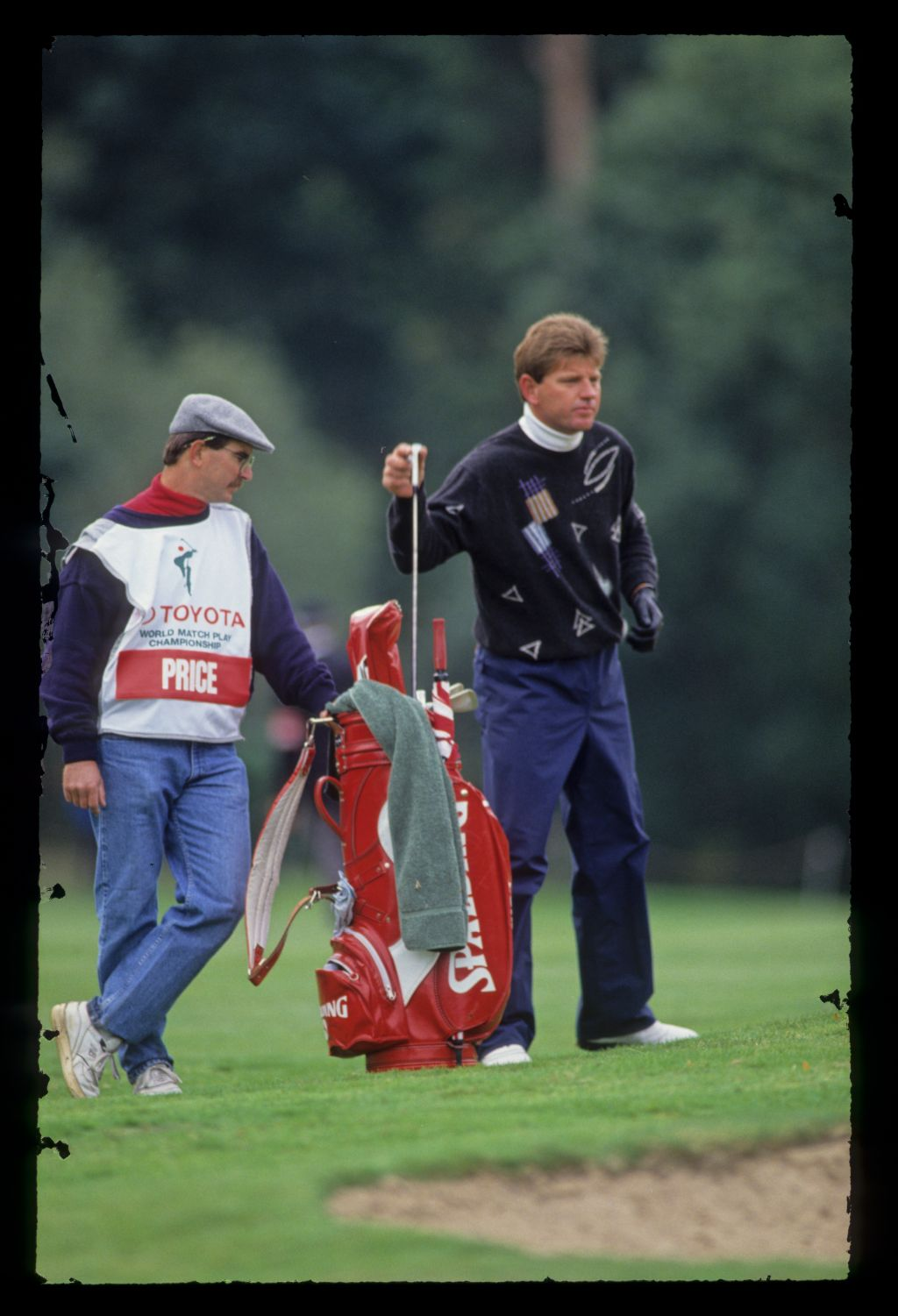 Nick Price and his caddie considering their options from a bunker during the 1991 Toyota World Matchplay