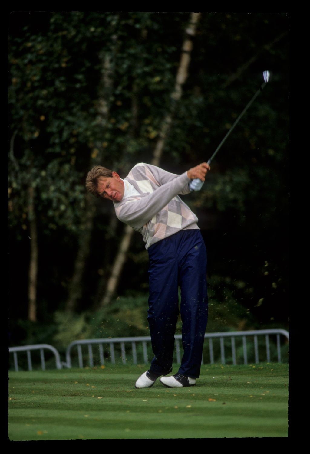 Nick Price powering through the ball on the tee during the 1991 Toyota World Matchplay
