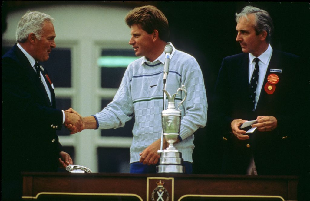 Nick Price receiving the runners up cheque during the 1988 Open Championship