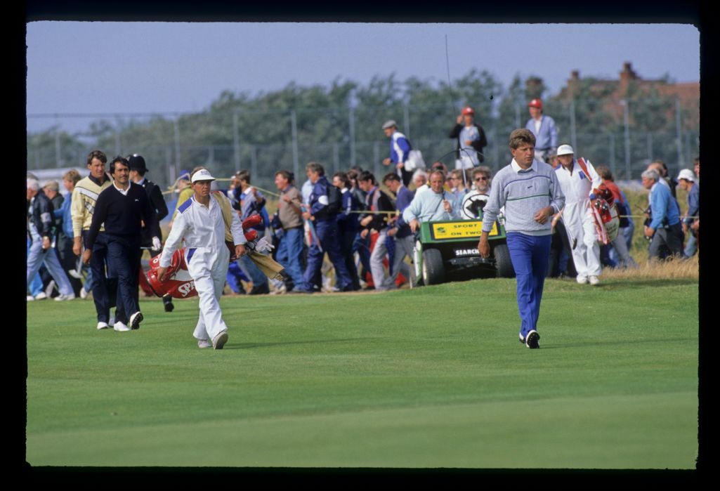 Nick Price, Nick Faldo and Severiano Ballesteros on the fairway during the 1988 Open Championship