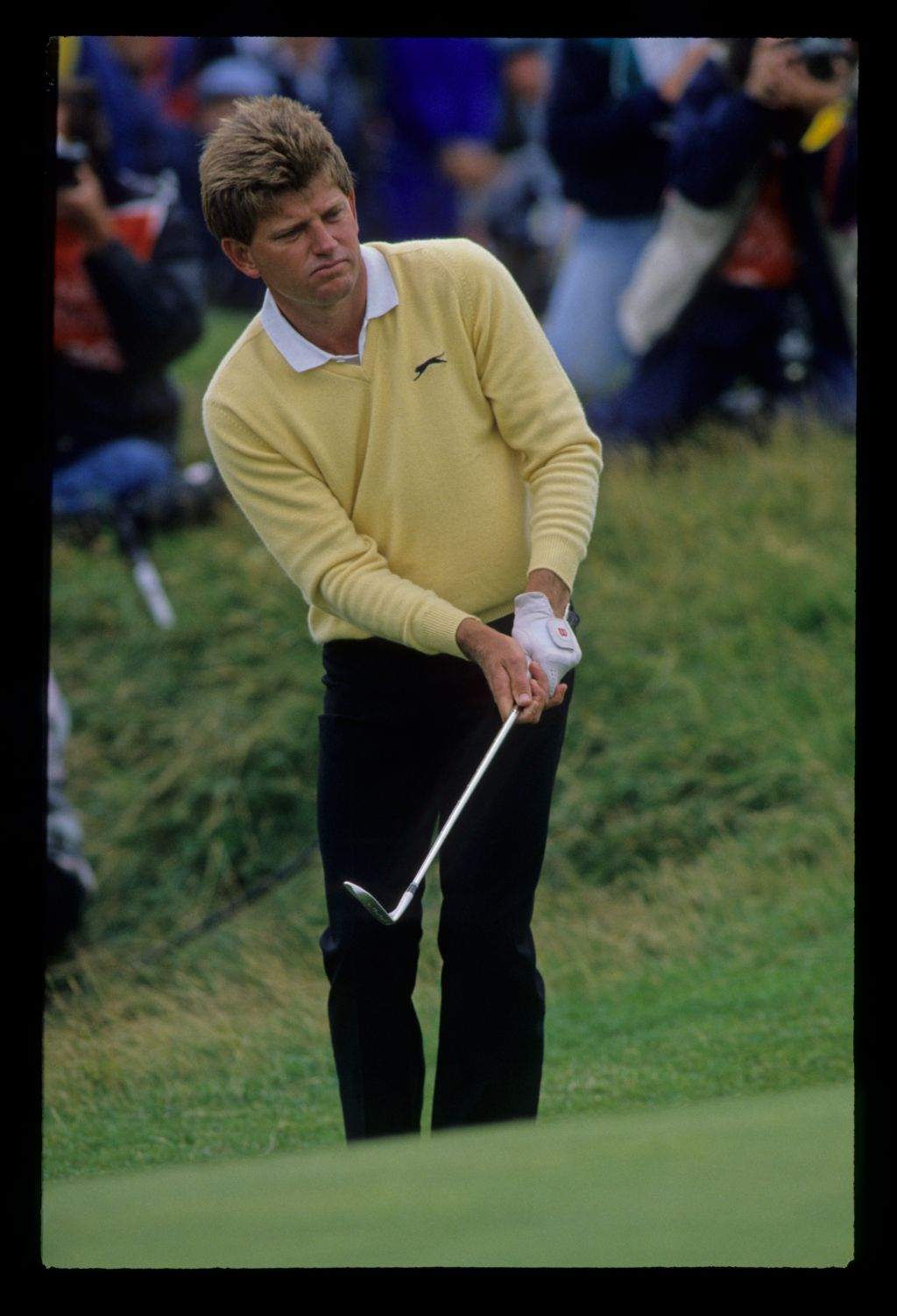 Nick Price chipping to the green on his way to second place at the 1988 Open Championship