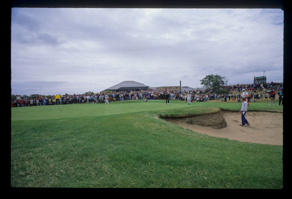 Nick Price watching the result of his bunker shot on the fifth hole on his way to second place at the 1988 Open Championship