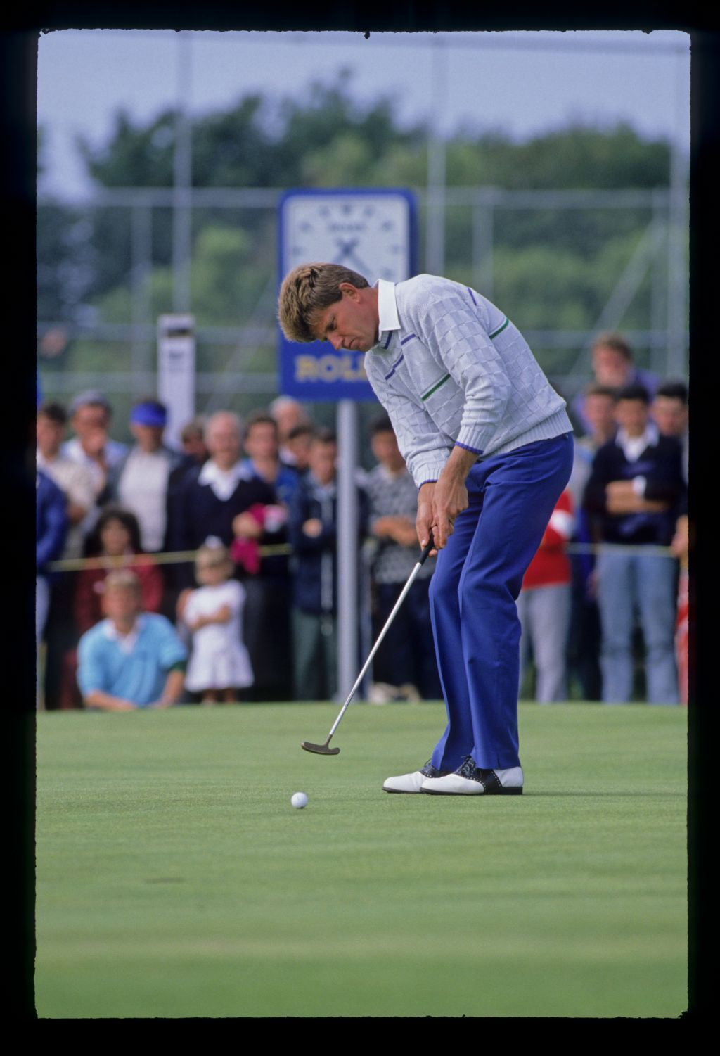 Nick Price putting on his way to second place at the 1988 Open Championship
