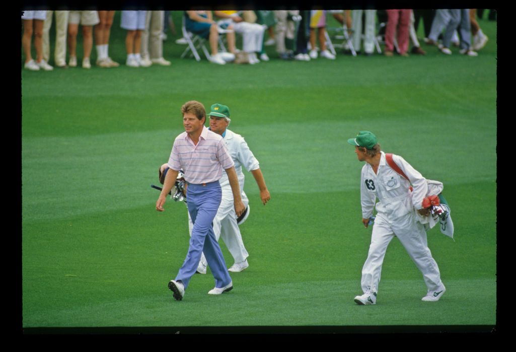 Nick Price striding along the fairway on his way to a record breaking round of 63 during the 1986 Masters