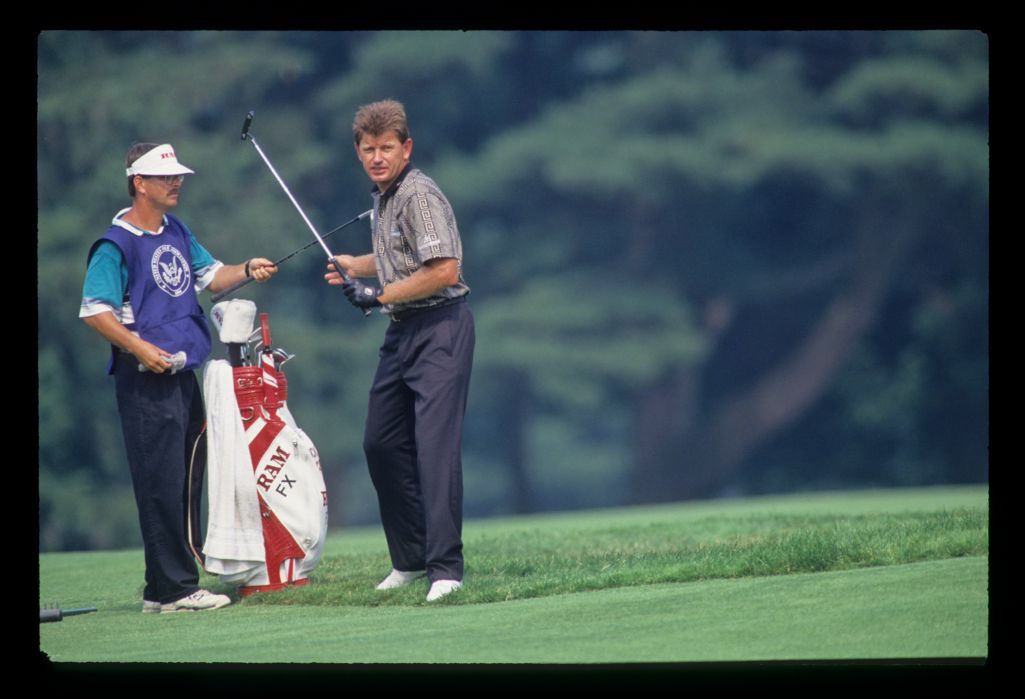 Nick Price and his caddie greenside during the 1993 US Open