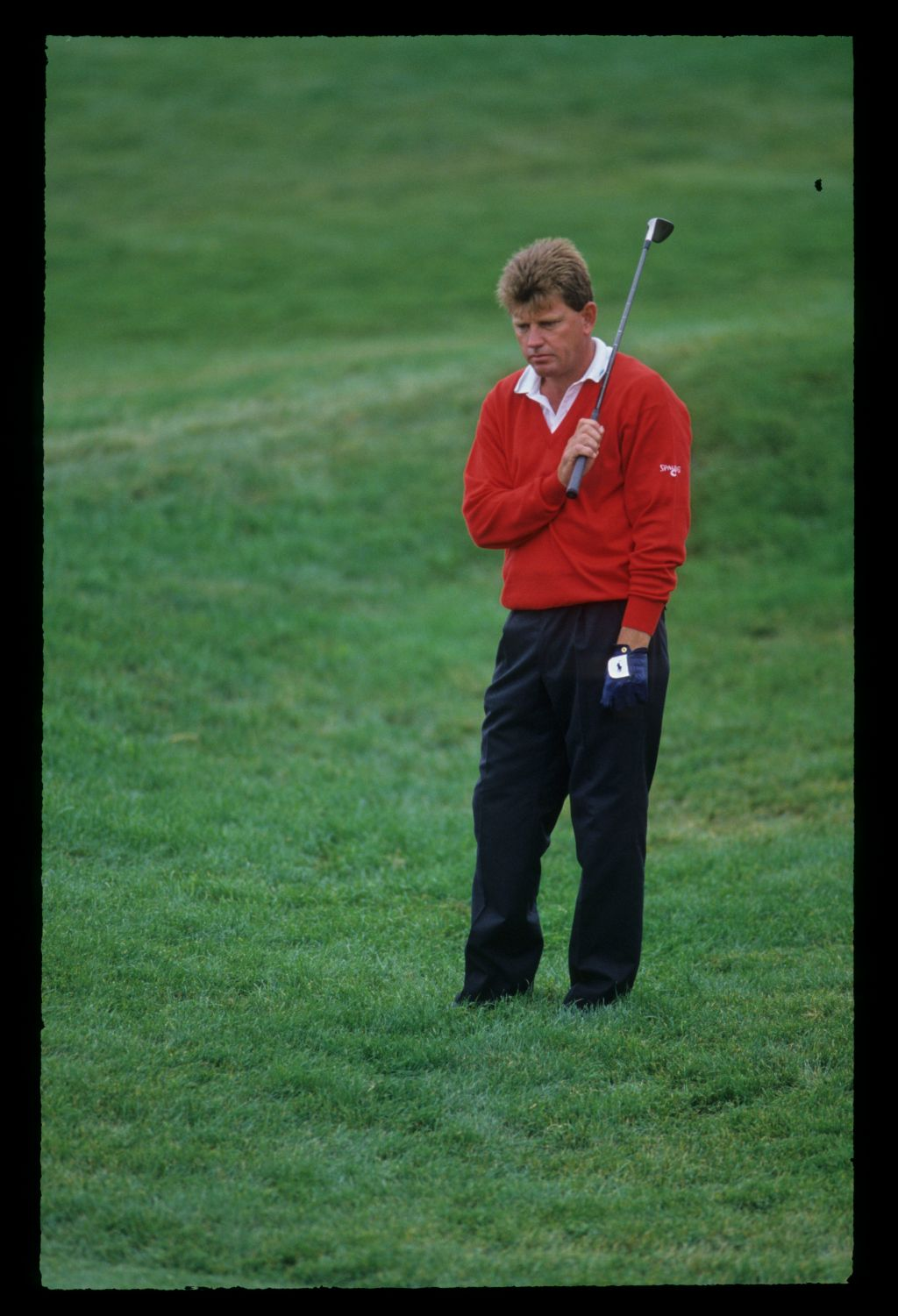 Nick Price looking concerned in the thick rough during the 1992 US Open