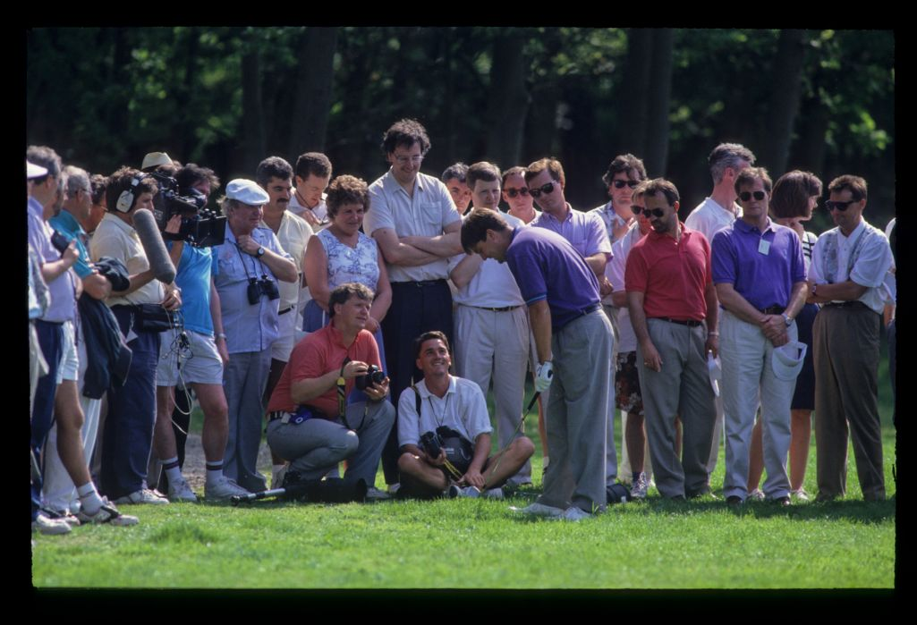Steven Richardson preparing to play from the rough during the 1992 Volvo PGA