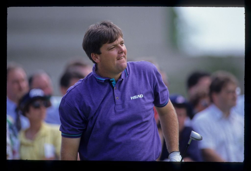 Steven Richardson watching closely from the tee during the 1992 Volvo PGA