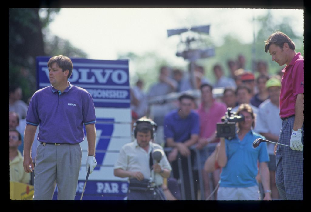 Steven Richardson and Nick Faldo on the tee during the 1992 Volvo PGA