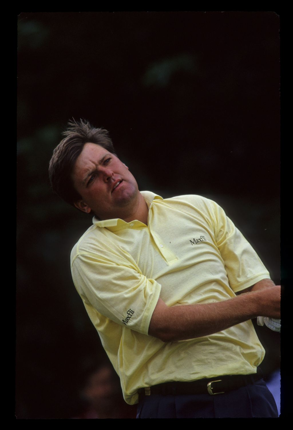 Steven Richardson watching his shot closely on his way to third place during the 1991 NM English Open