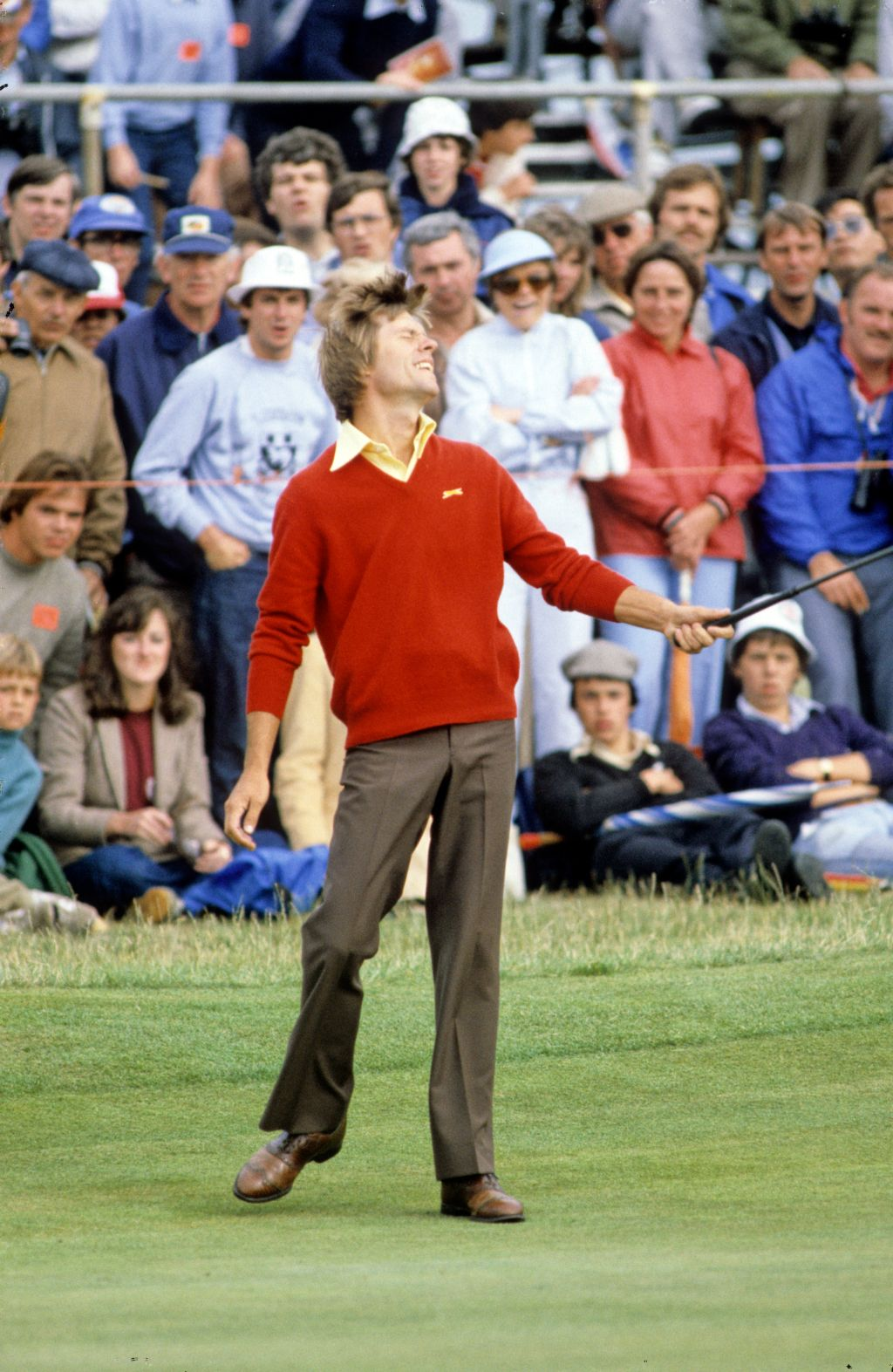 Bill Rogers showing his emotion on the green on his way to winning the 1981 Open Championship