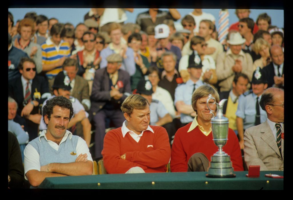 Sam Torrance, Ray Floyd and Bill Rogers at the 1981 Open Championship presentation ceremony
