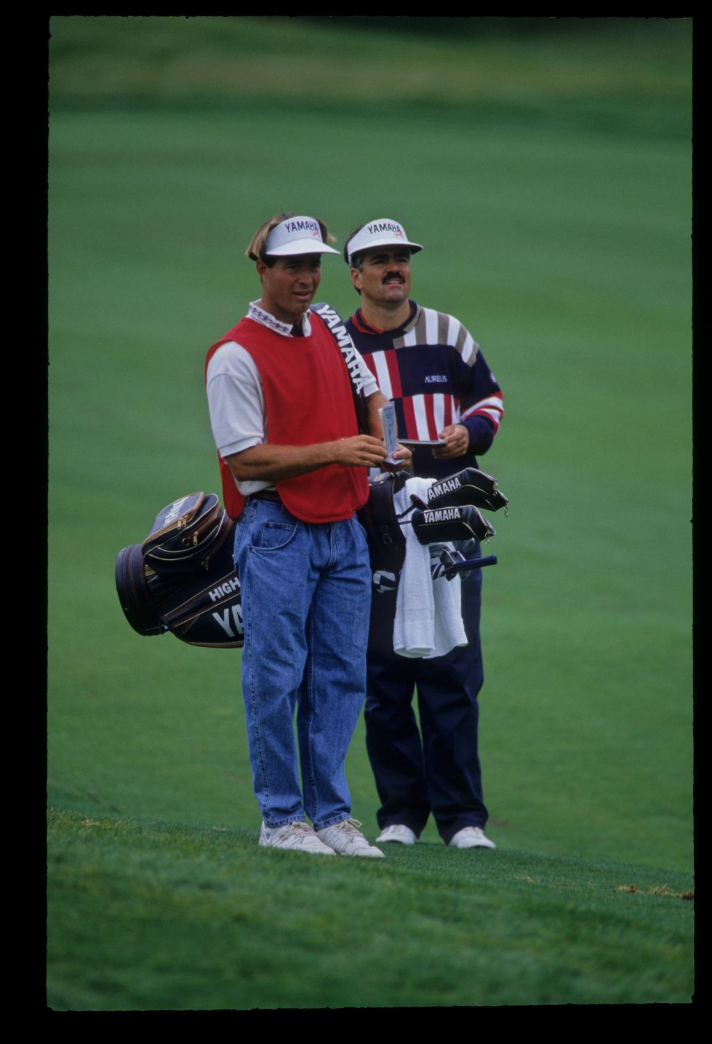 Scott Simpson and his caddie checking yardages during the 1992 US Open