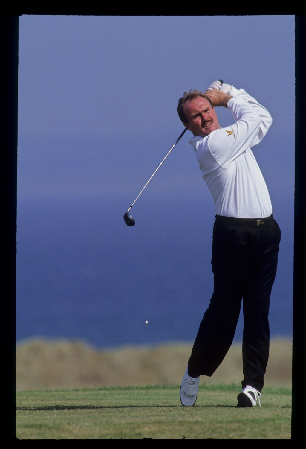 Ronan Rafferty following through on the tee during the 1992 Open Championship