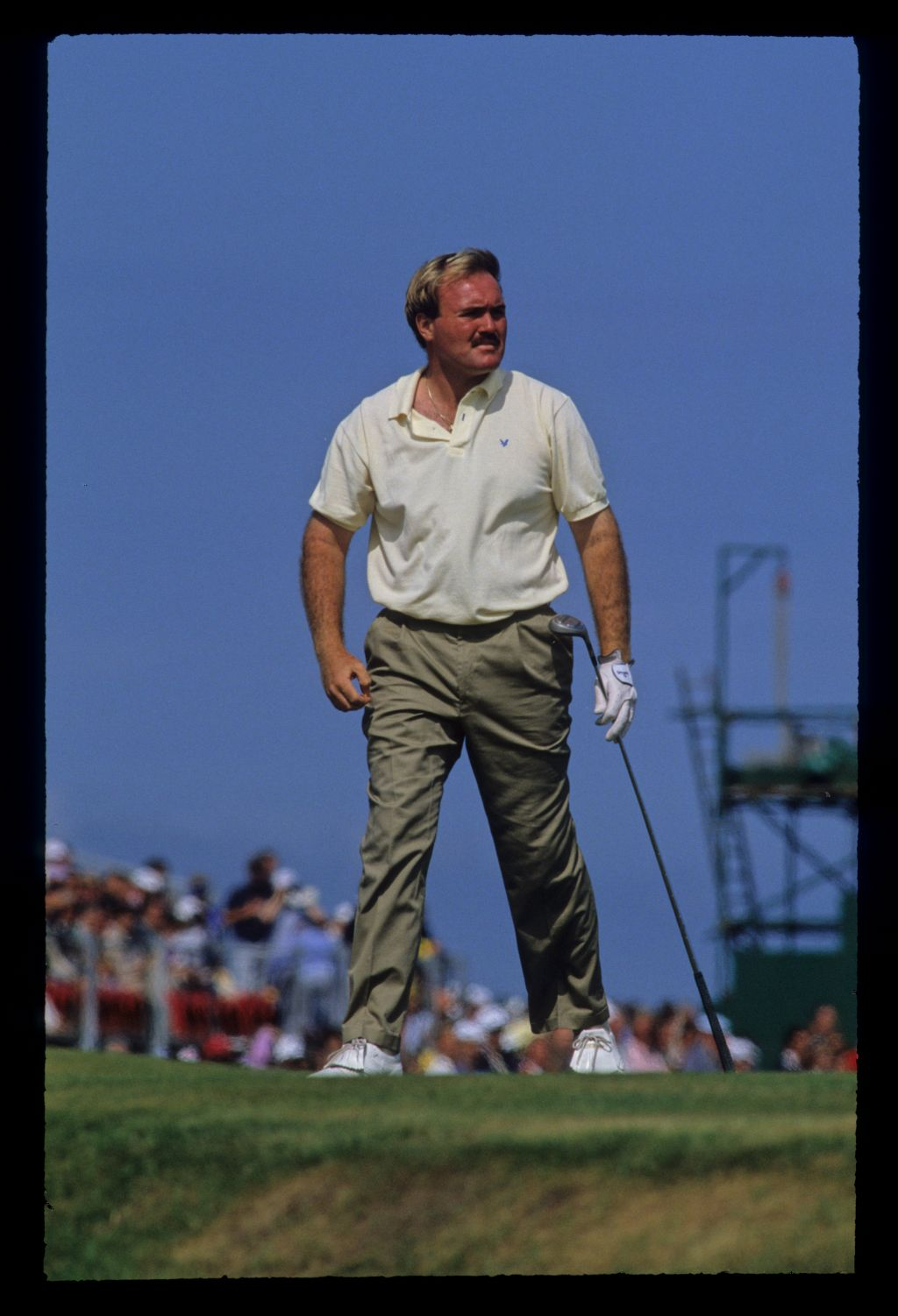 Ronan Rafferty watching closely from the tee during the 1990 Open Championship