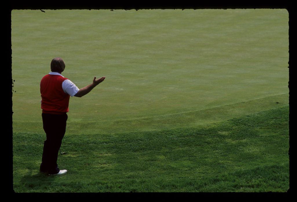 Craig Stadler showing emotion after chipping from the fringe during the 1989 Memorial Tournament