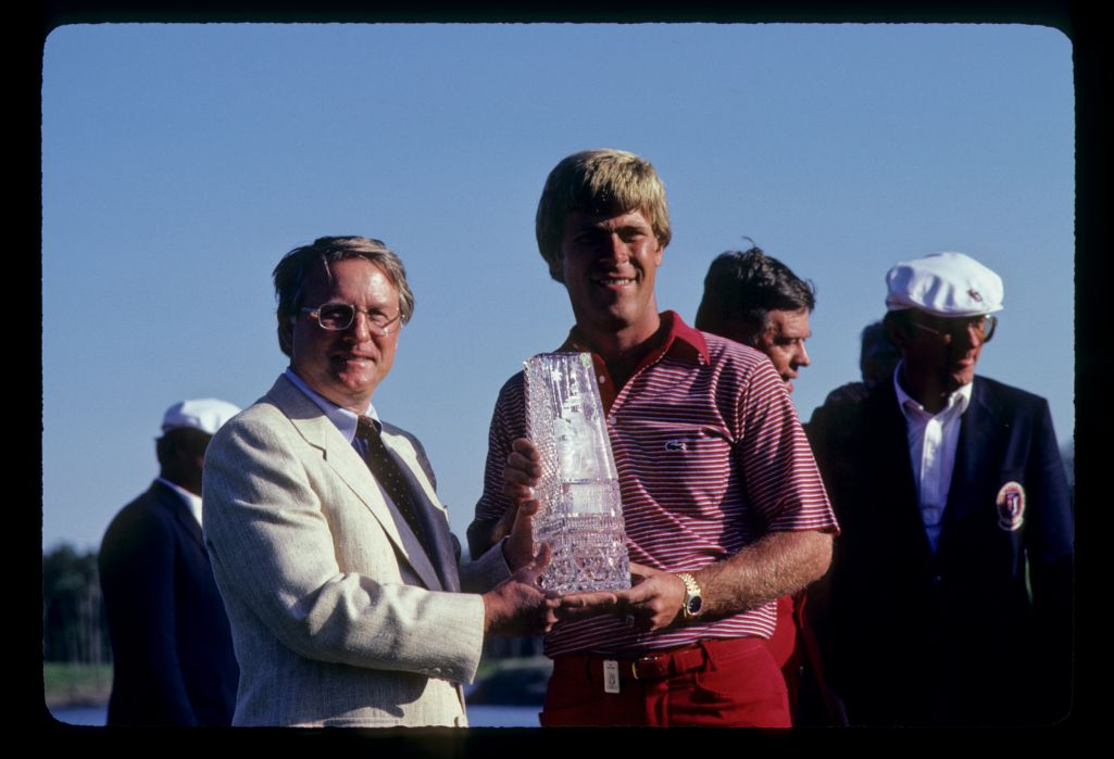 Hal Sutton receiving the trophy after winning the 1983 TPC