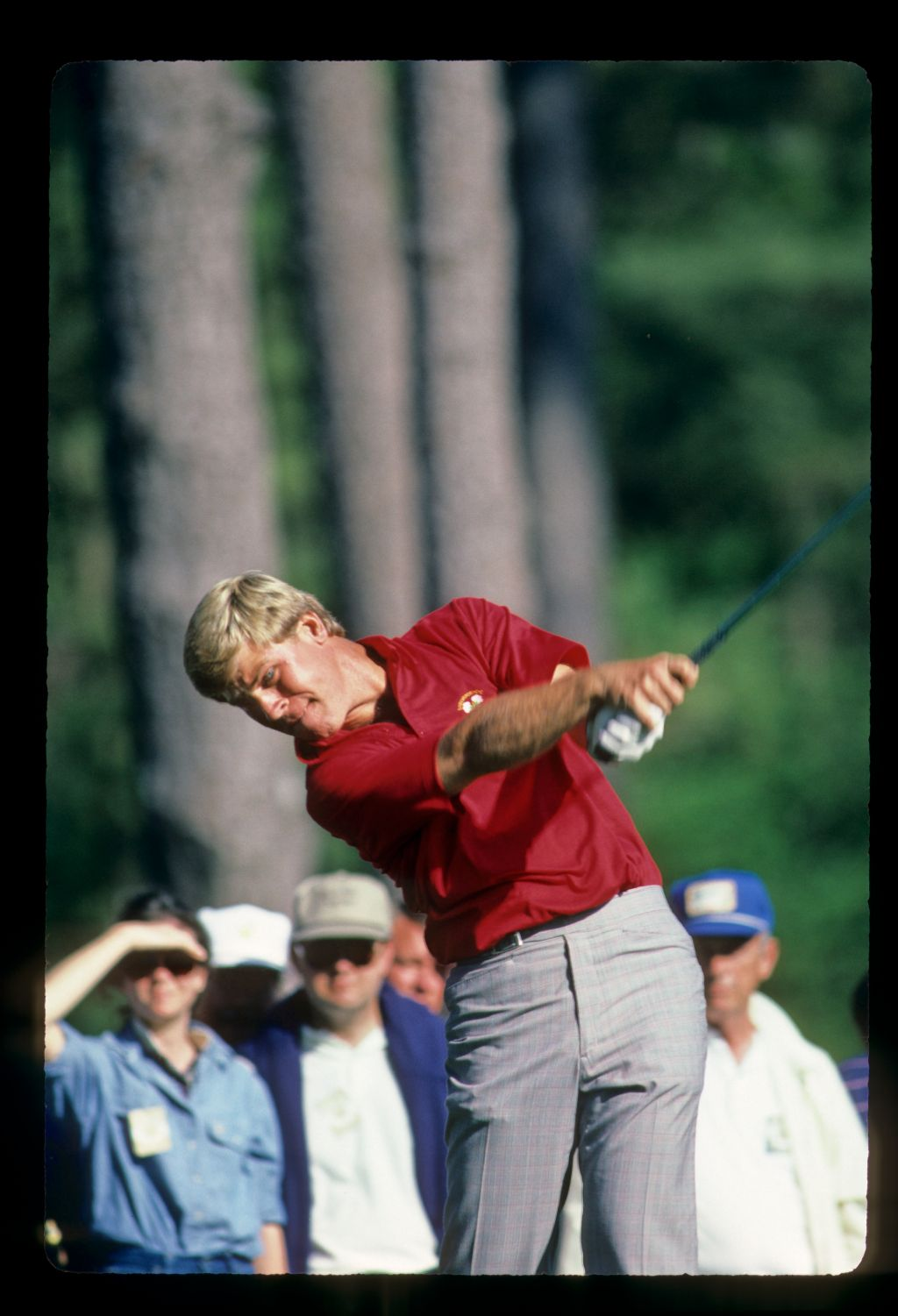 Hal Sutton extending through the ball on the tee during the 1986 Masters