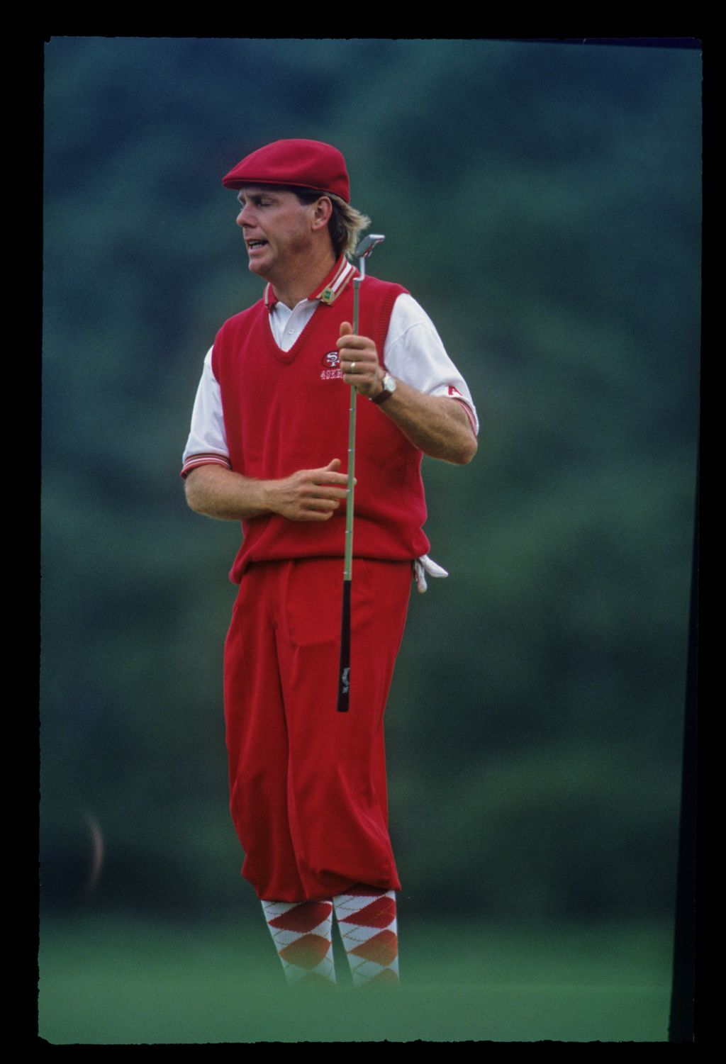 Payne Stewart showing his frustration on the green during the 1993 Masters