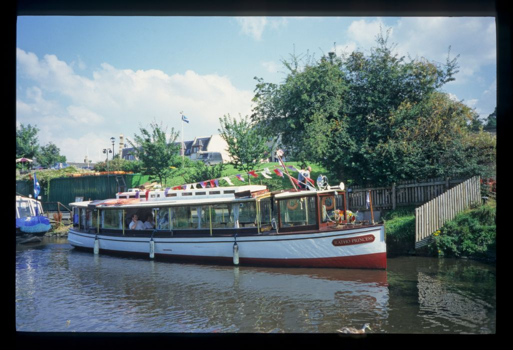 A cruise boat [the Ratho Princess] at the Ratho Canal Centre.