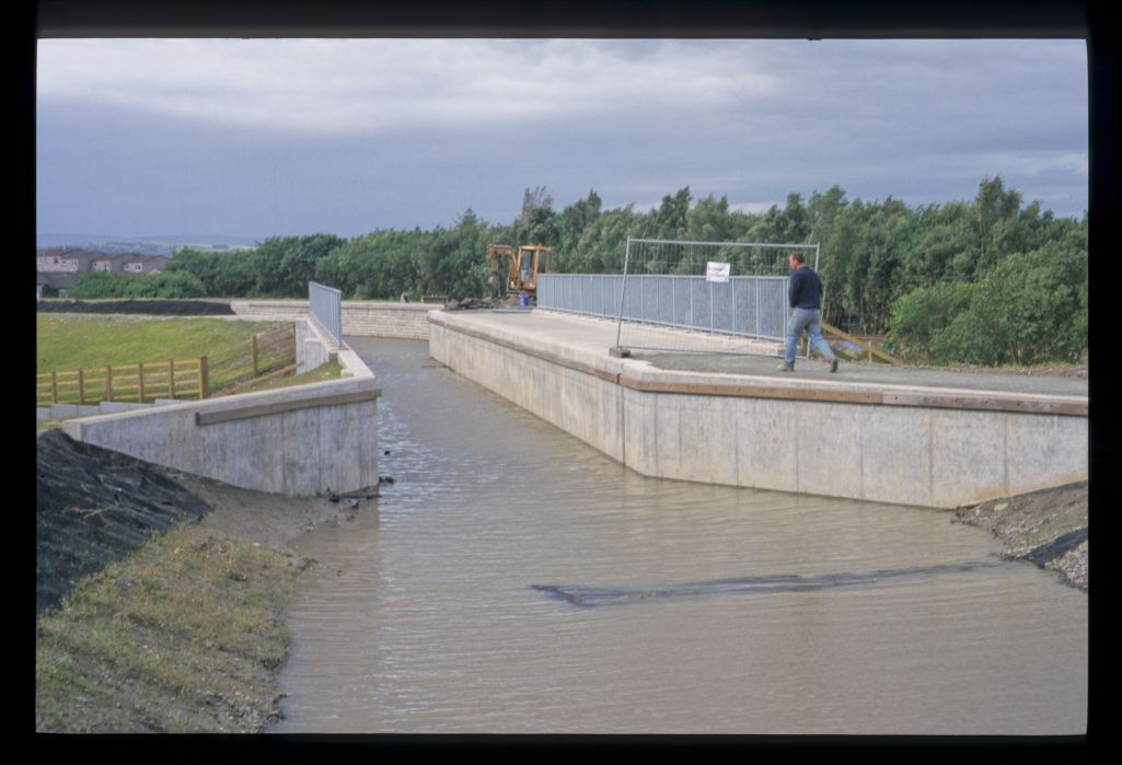 The new cut on the Union Canal - the new aqueduct above Camelon [Falkirk] leading to the Falkirk Wheel.