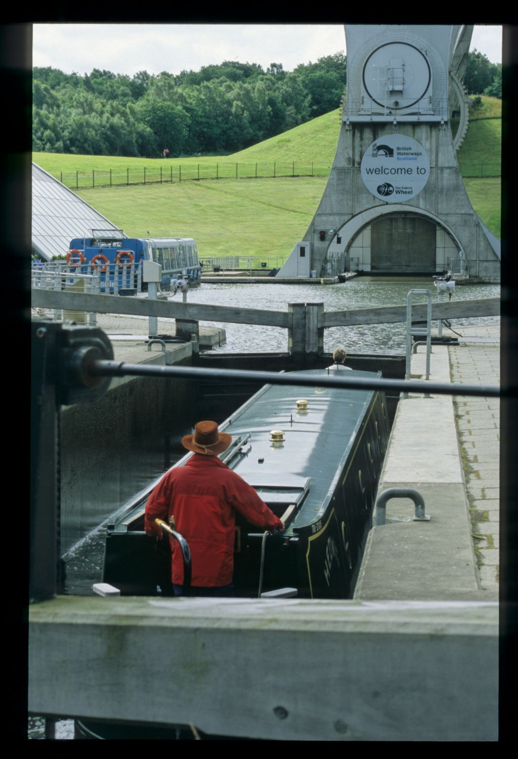 The Falkirk Wheel - entry from the Forth and Clyde Canal.
