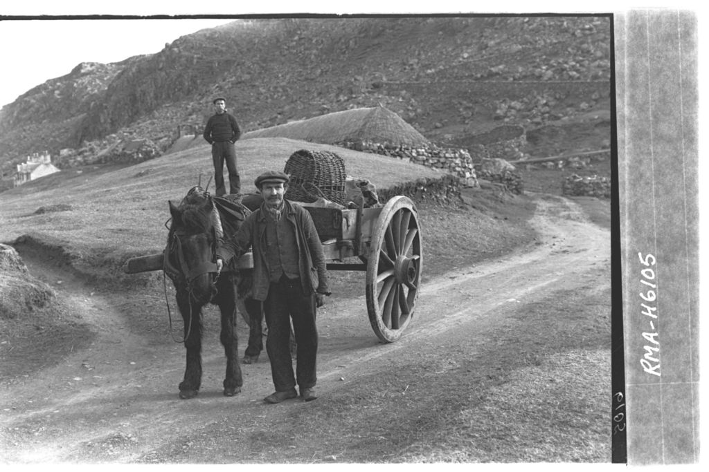 Hebridean man with pony cart.