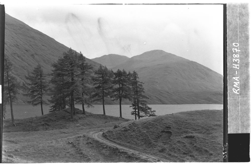 Loch Lyon with larch trees.
