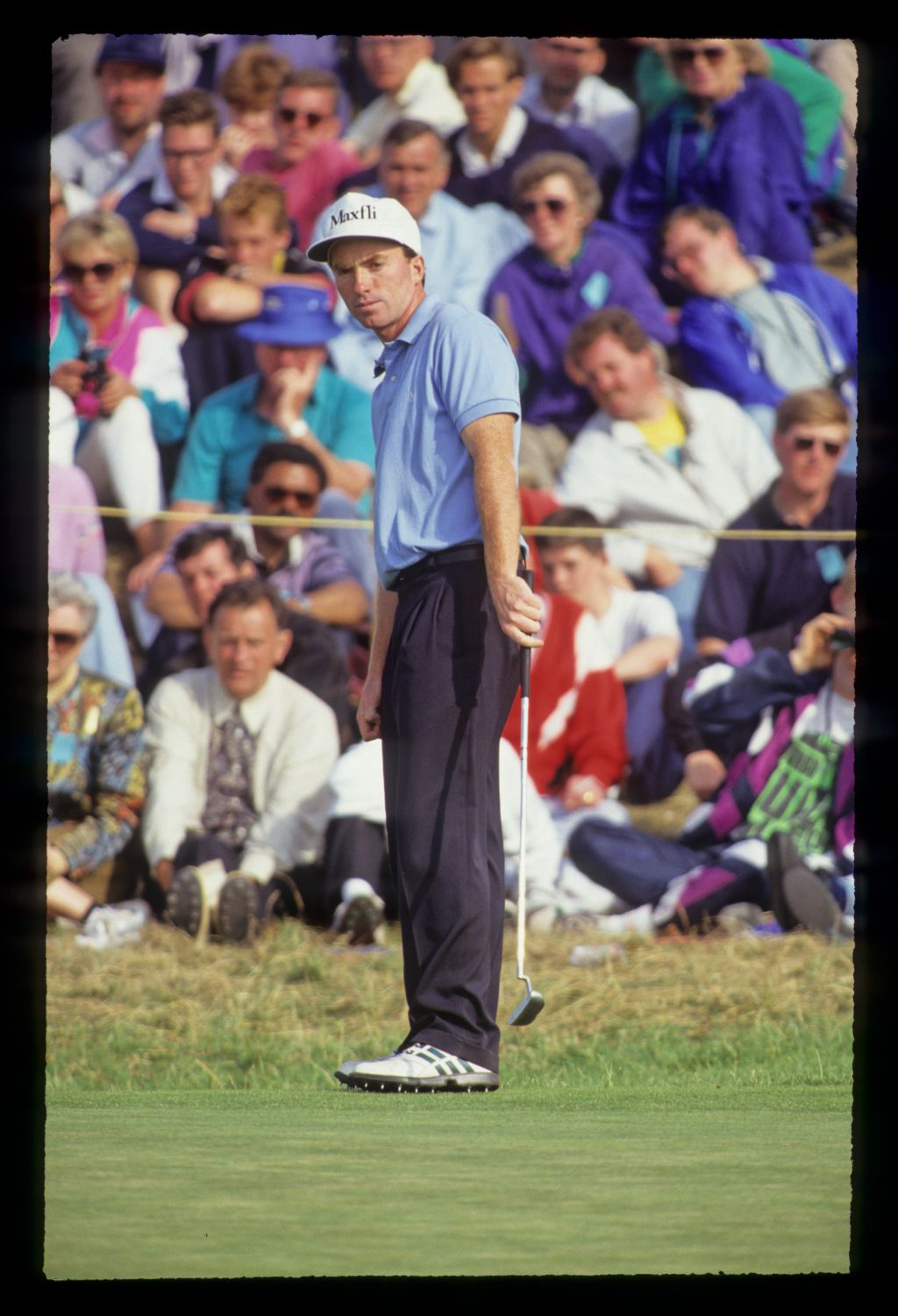 David Gilford putting from the fringe during the 1991 Open Championship