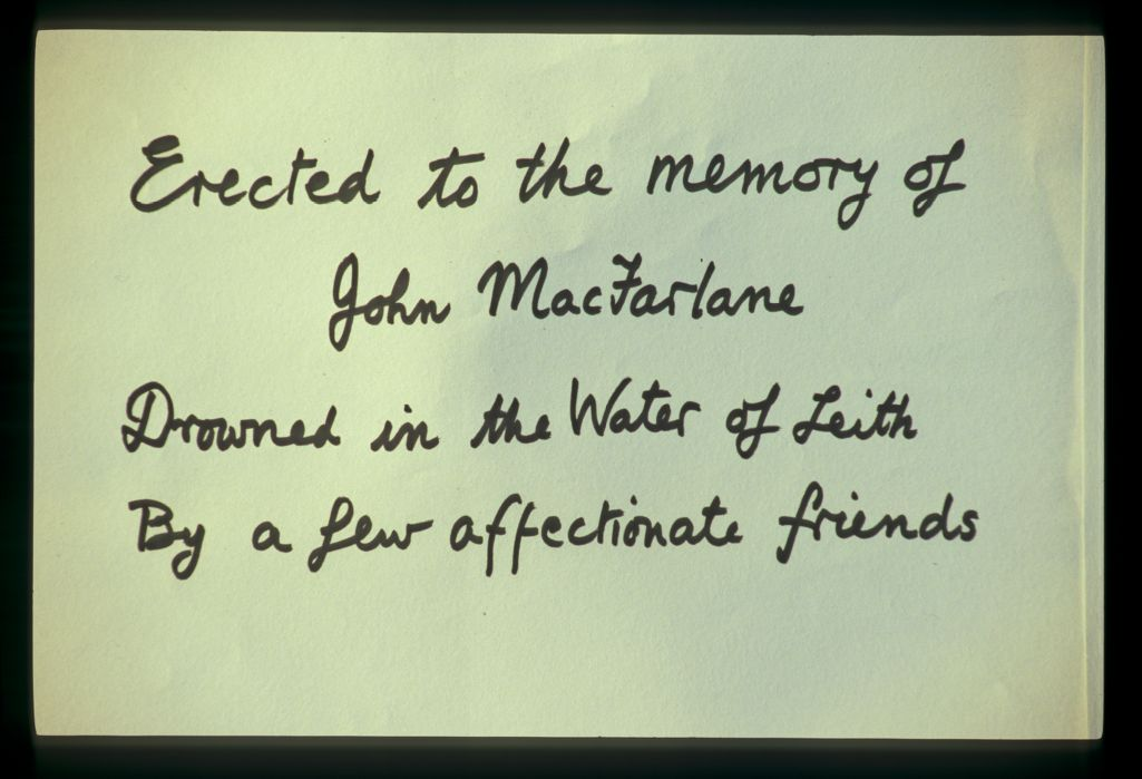 John MacFarlane inscription.