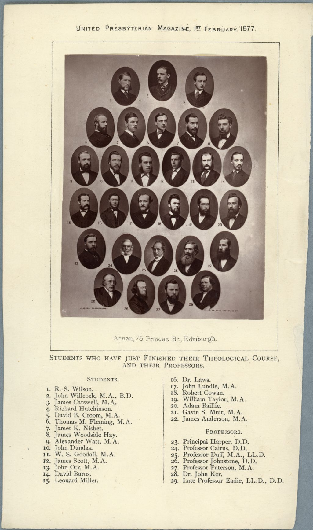 Theology Students and Professors in the United Presbyterian Magazine 1877