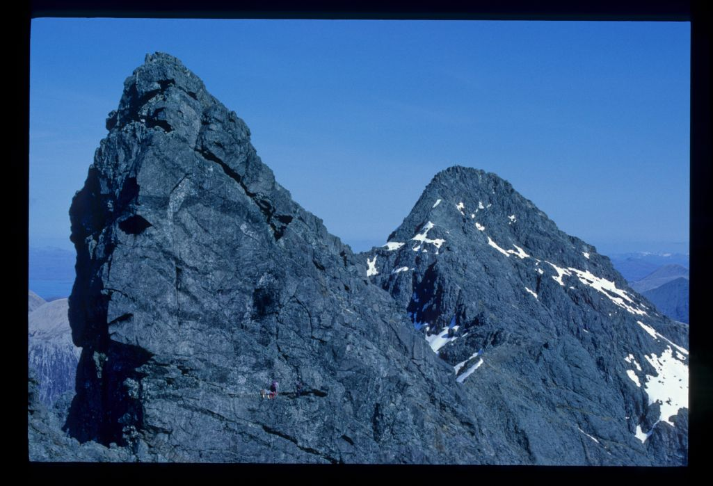 Climbers on the Basteir Tooth - to Gillean, Skye.