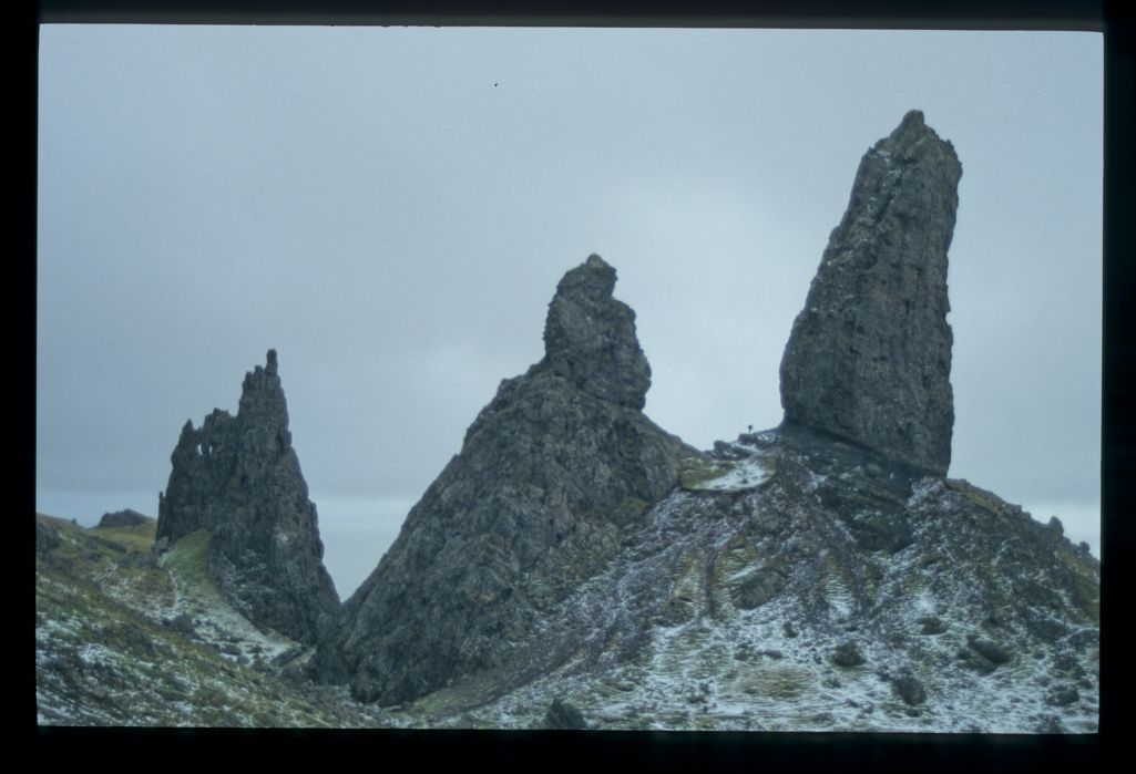 The Storr Rock (note the tiny figure!), Skye.