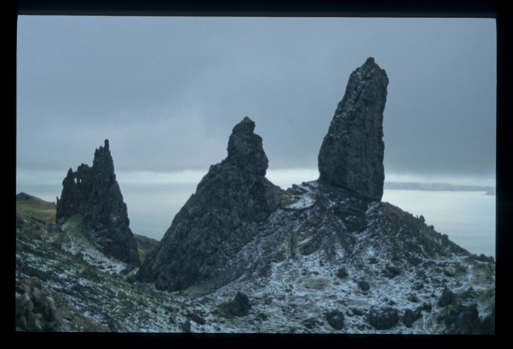 The Storr in winter (the figure on the slope at right gives scale). A prime Graham.