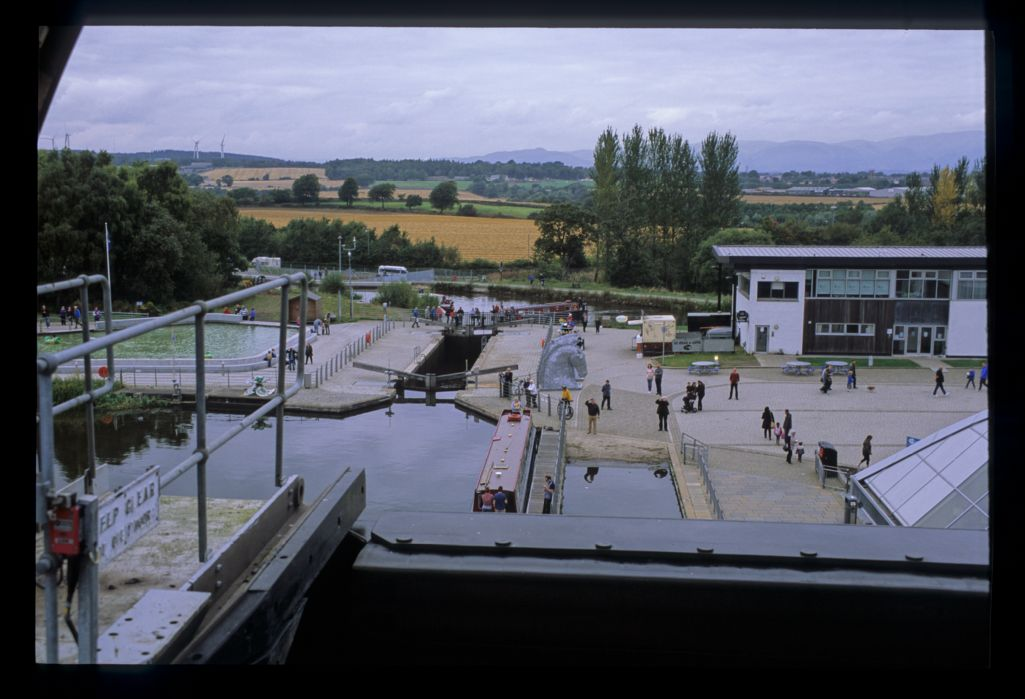 The view down from the Falkirk Wheel, Forth and Clyde Canal.